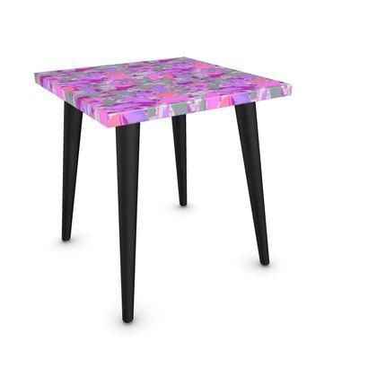 Side Table, Pink, Mauve Leaf  Cathedral Leaves  Mauve