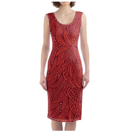 Polynesian Tribal Tattoo Red Floral Designed Bodycon Dress