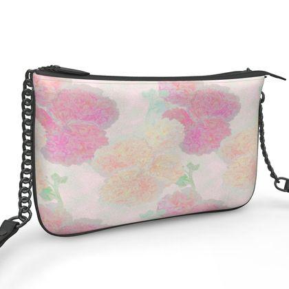 Pochette Double Zip Bag, Pink, Peach  Flower  Hollyhocks  Sweet Flummery