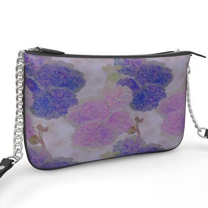 Pochette Double Zip Bag, Flower  Hollyhocks  Currant Bun