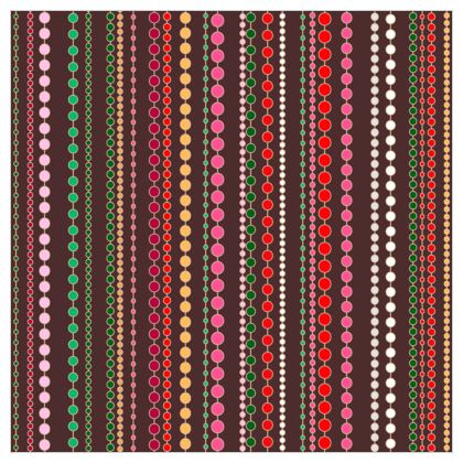 Clay Beads - Fabric Printing - Boho gift, multicolour stripes, bright brown expressive