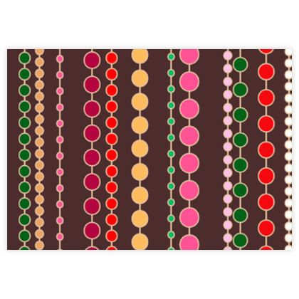 Clay Beads - Fabric Sample Test Print - Boho gift, multicolour stripes, bright brown expressive