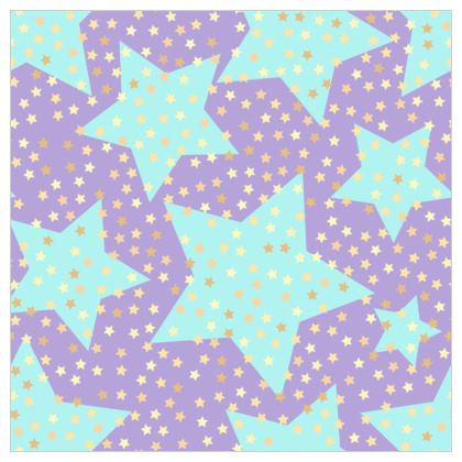 Luck Star - Fabric Printing - starry sky, lovely, soft, Turquoise, purple, lilac, baby nursery, kid