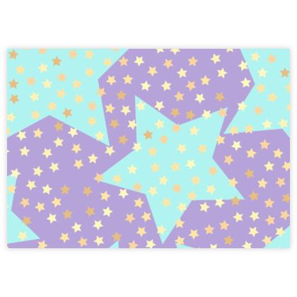 Luck Star - Fabric Sample Test Print - starry sky, lovely, soft, Turquoise, purple, lilac, baby, kid
