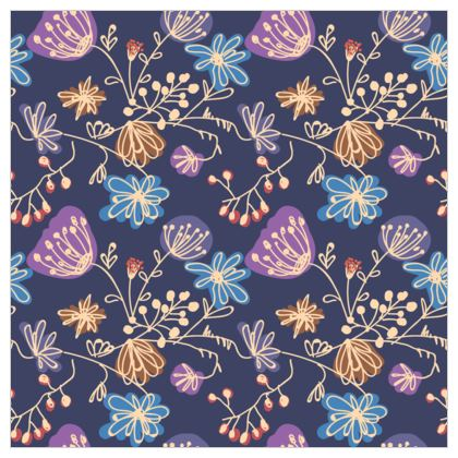 Night flowers - Fabric Printing - floral, blue, blooming plants, navy, natural, hand drawing gift