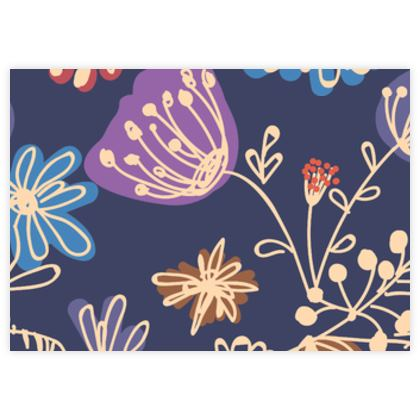 Night flowers - Fabric Sample Test Print - floral, blue, blooming plants, navy, natural, hand drawing gift