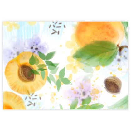 Little sun - Fabric Sample Test Print - fruit, apricots, orchard, green yellow, garden