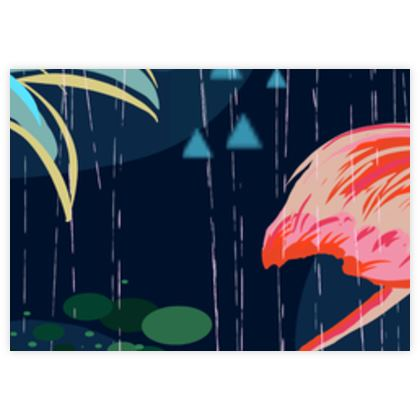 Pink flamingo - Fabric Sample Test Print - tropical, palms, navy, exotic, whimsical
