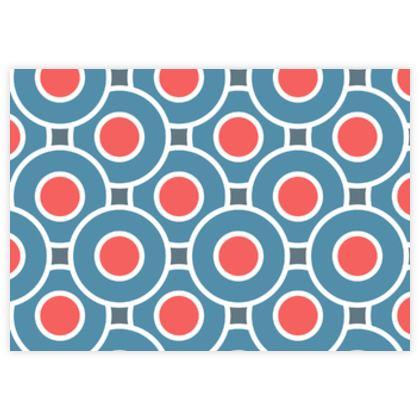 Japanese summer - Fabric Sample Test Print - Geometric, abstract, blue red - Tiana Lofd