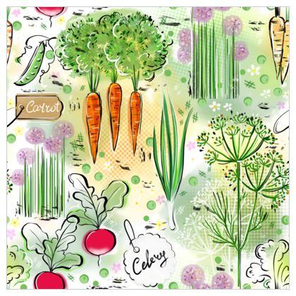 Garden harvest white - Fabric Printing - Vegetables, countryside, agricultural plants, gardener gift