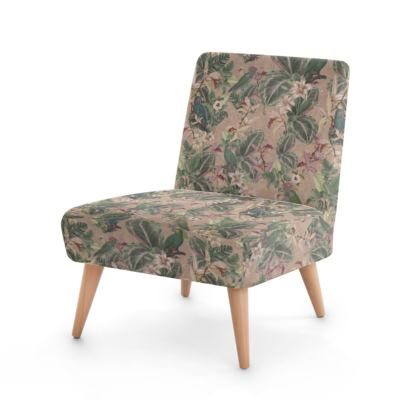 Vintage botanical foliage and parrots lounge chair - blush