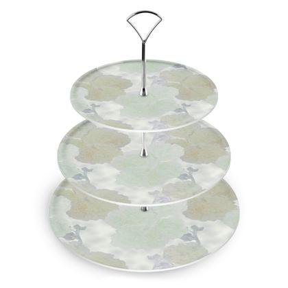 Cake Stand, Ivory, Aqua Flower  Hollyhocks  Snowdrift