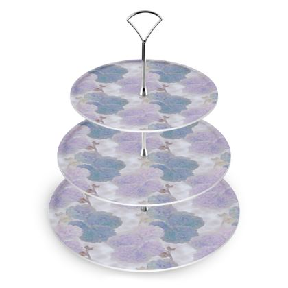 Cake Stand Mauve, Blue Flower  Hollyhocks  Blueberry
