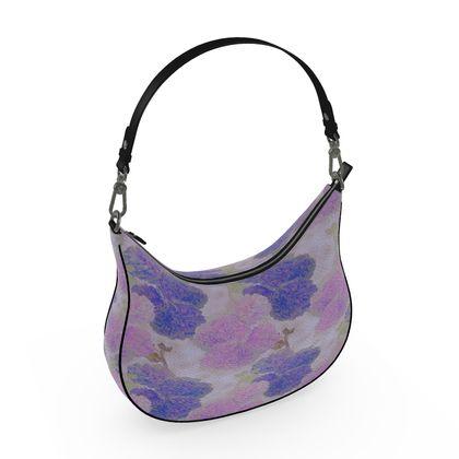 Curve Hobo Bag Blue, Mauve,  Hollyhocks  Currant Bun