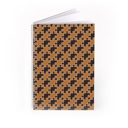 Jigsaw Puzzle Pattern [Chocolate Honeycomb] Spiral Notebook
