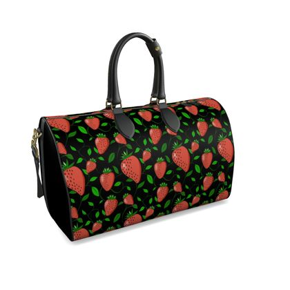 Sweet Strawberry tangled with leaves and vines Black Summer Fruits Duffle bag