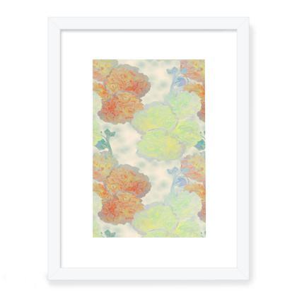 Framed Art Prints, Orange, Yellow,  Flower  Hollyhocks  Oranges and Lemons