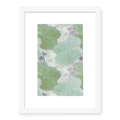 Framed Art Prints Turquoise, Green, Flower  Hollyhocks  Fernery
