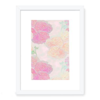 Framed Art Prints Pink, Peach  Flowers  Hollyhocks  Sweet Flummery