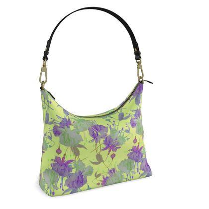Square Hobo Bag, Yellow, Mauve, Flower  Fuchsias  Primrose Hill