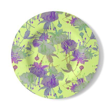 Decorative Plate, Yellow, Mauve, Floral  Fuchsias  Primrose Hill