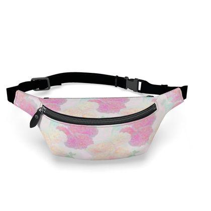 Fanny Pack, Pink, Peach, Flower  Hollyhocks  Sweet Flummery