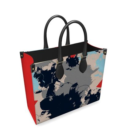 Leather Shopper Bag-Wild Flowers