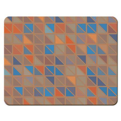 Tan Orange Blue Triangles Geometric