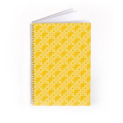 Jigsaw Puzzle Pattern [Golden-Yellow] Spiral Notebook
