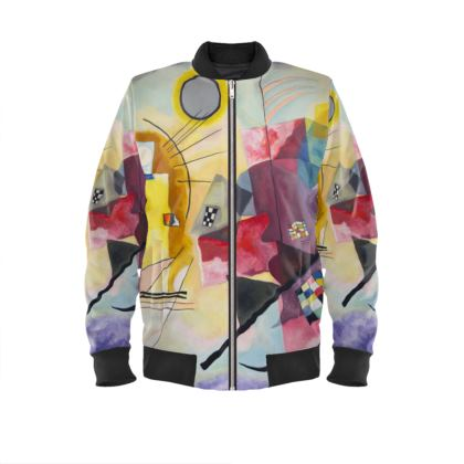 Mens Bomber Jacket: Yellow-Red-Blue By Wassily Kandinsky