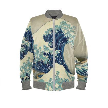 Mens Bomber Jacket: Great Wave Off Kanagawa By Katsushika Hokusai