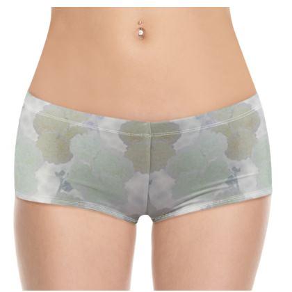 Hot Pants, Teal, Ivory, Plant,  Hollyhocks  Snow Drift