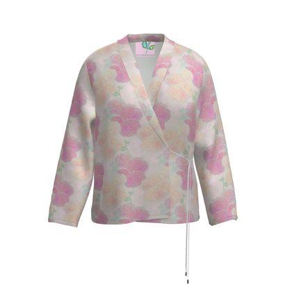 Wrap Blazer, Pink, Peach, Flower  Hollyhocks  Sweet Flummery
