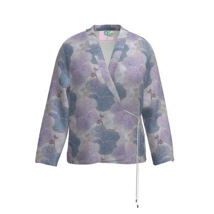 Wrap Blazer, turquoise, Mauve, Flower  Hollyhocks  Blueberry