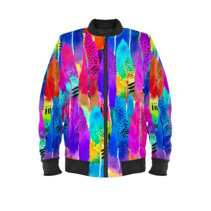 Patterned Parrot Ladies Bomber Jacket