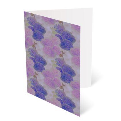 Occasions Cards ['Happy Birthday'], Mauve, Blue, Flower  Hollyhocks  Currant Bun