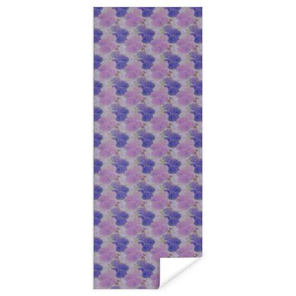 Gift Wrap, Blue, Mauve, Flower  Hollyhocks  Currant Bun