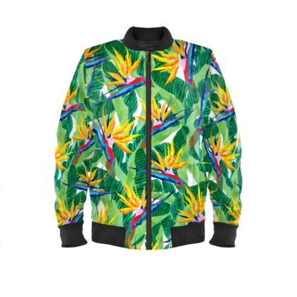 Summer Strelitzia Ladies Bomber Jacket