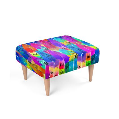Patterned Parrot Footstool