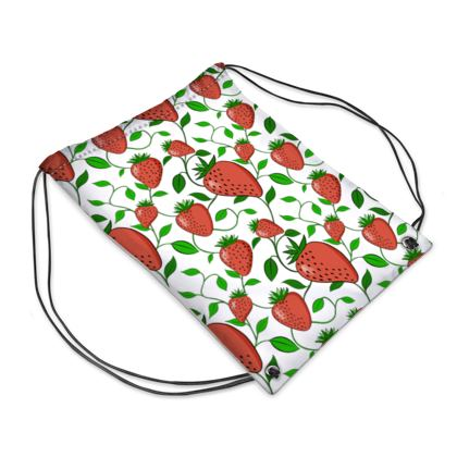 Sweet Strawberry tangled with leaves and vines White Summer Fruits Drawstring PE Bag