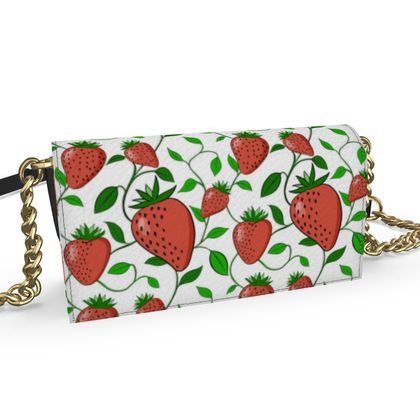 Sweet Strawberry tangled with leaves and vines White Summer Fruits  Kenway Evening Bag