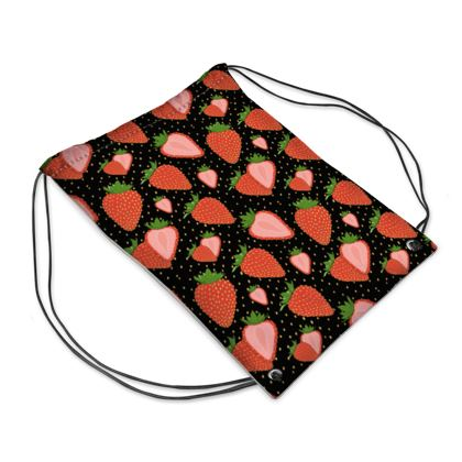 Sweet Strawberries with black background- Swimming Bag