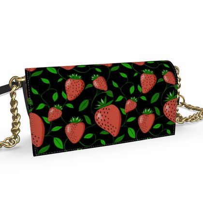 Sweet Strawberry tangled with leaves and vines Black Summer Fruits Kenway Evening Bag