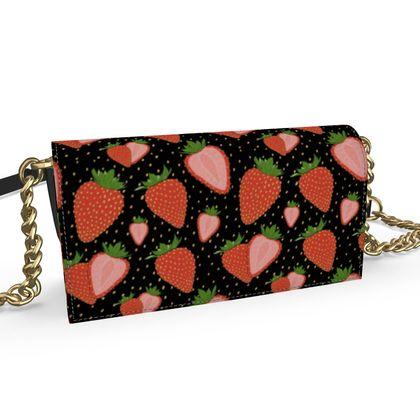 Sweet Strawberries - Kenway Evening Bag Black