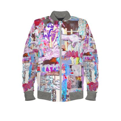 Vibrant Bomber Jacket with Colourful Abstract Print