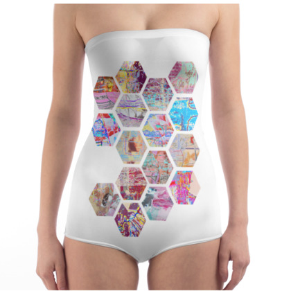 Swimsuit with Geometric Honeycomb Print