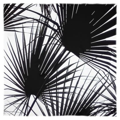 BLACK AND WHITE TROPICAL LEAVES - Scarf Wrap or Shawl