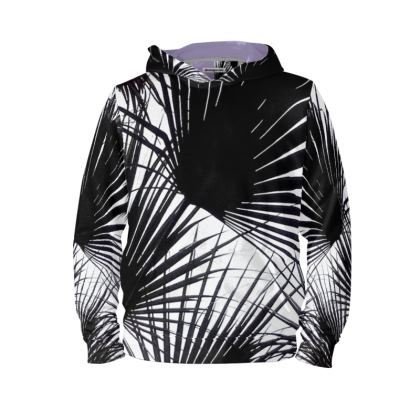 BLACK AND WHITE TROPICAL LEAVES - Hoodie