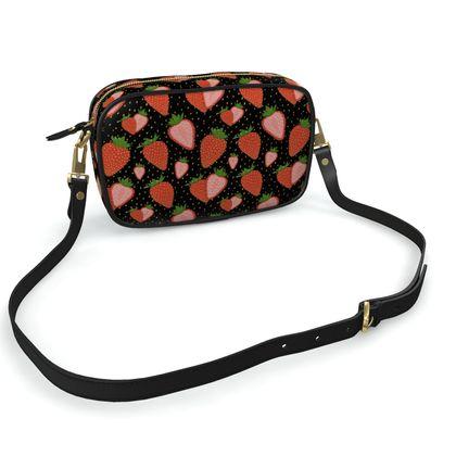 Sweet Strawberry in Black Summer Fruits Camera Bag