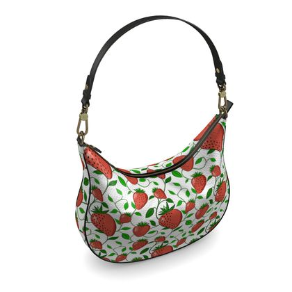 Sweet Strawberry tangled with leaves and vines White Summer Fruits Curve Hobo Bag